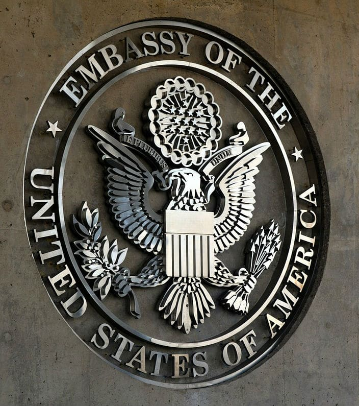 U.S. Embassy Seal where a interview occurs during the K-1 Fiance Visa Embassy Phase