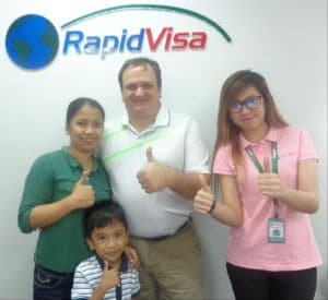 A picture of us at the Rapid Visa office in Manila after Lea Passed her Spousal Visa Interview.