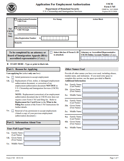 I-765 Application for Employment Authorization