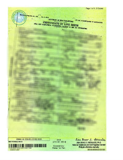 Birth Certificate for adjustment of status