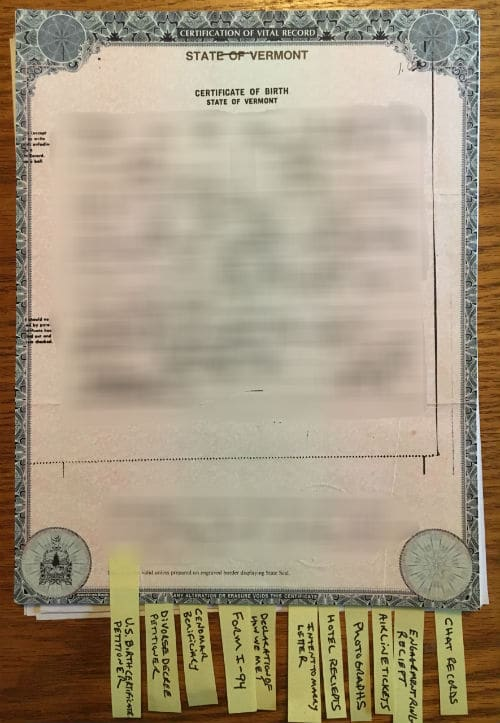 U.S. birth certificate showing proof of U.S. citizenship.