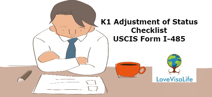 Petitioner dribking coffee looking at his K1 Adjustment of Status Checklist USCIS Form I-485