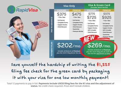 the Rapid Visa Fiance Visa plus Green Card Payment Plan