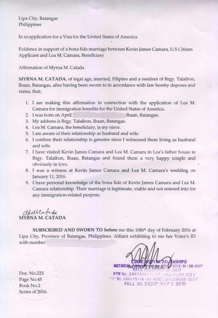 Third Party Affidavit of Bona Fide Marriage by Lea's Aunt